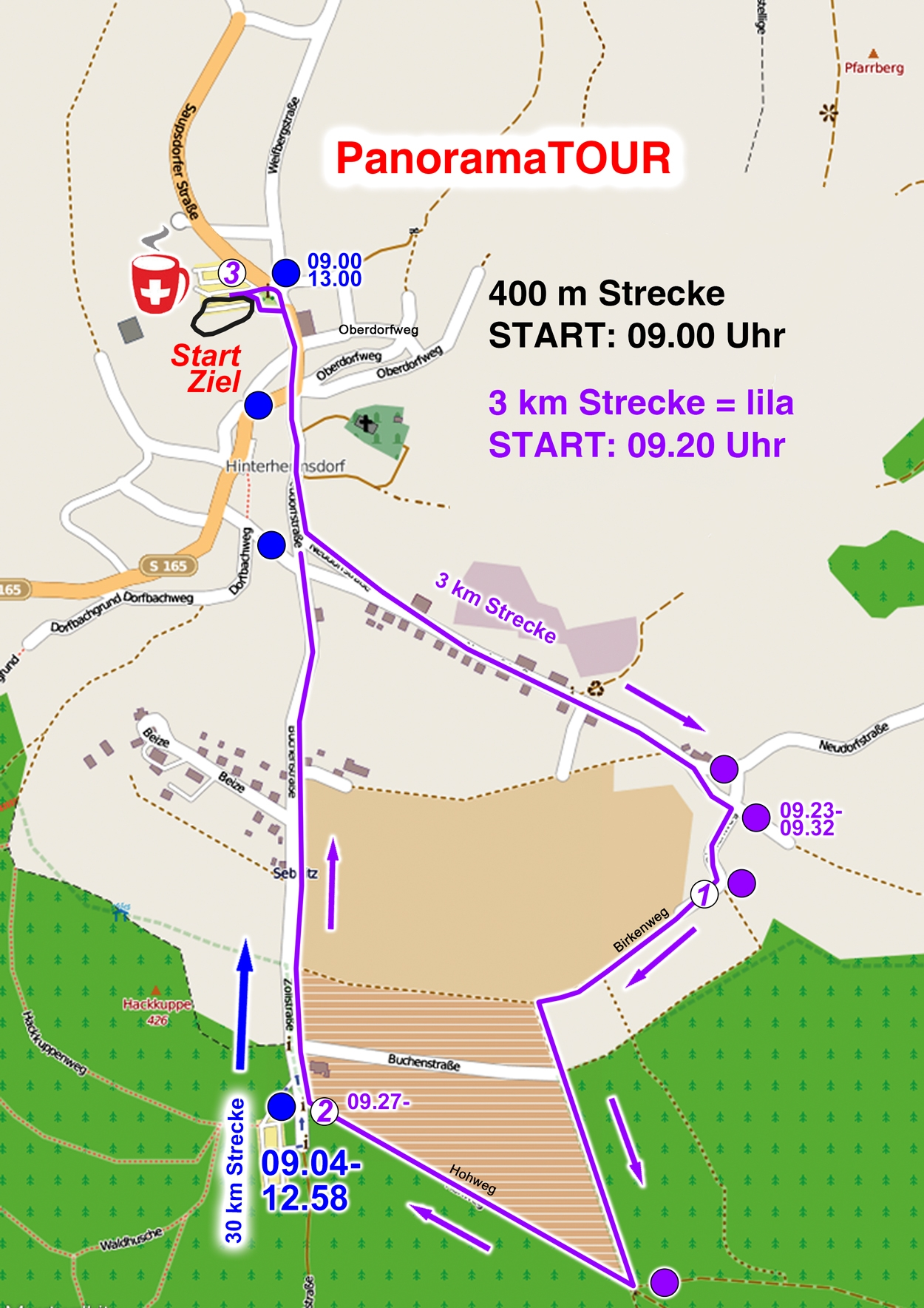 Streckenkarte 3 km Familien-Lauf
