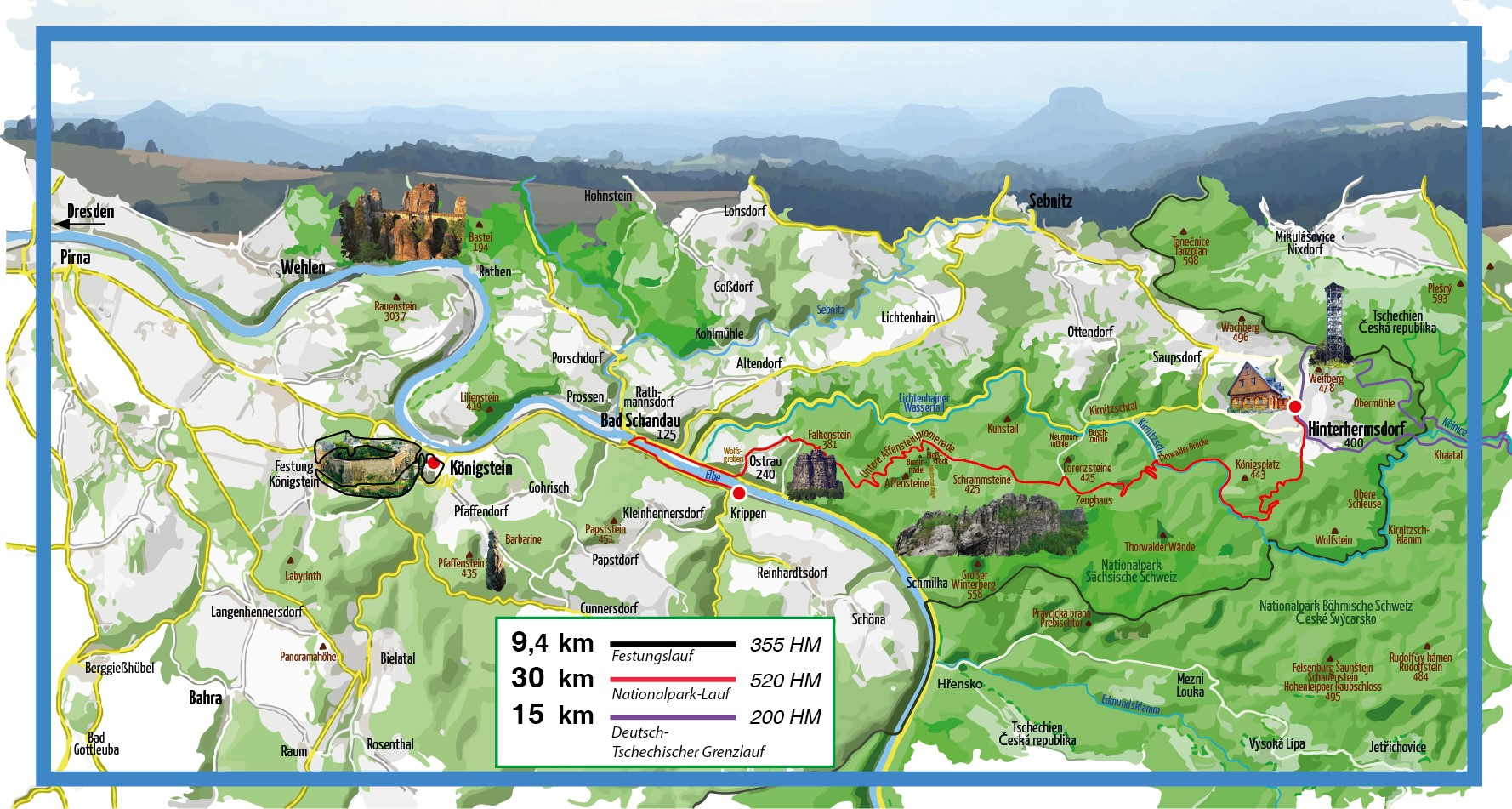 Streckenkarte Panoramatour 3-Etappenlauf