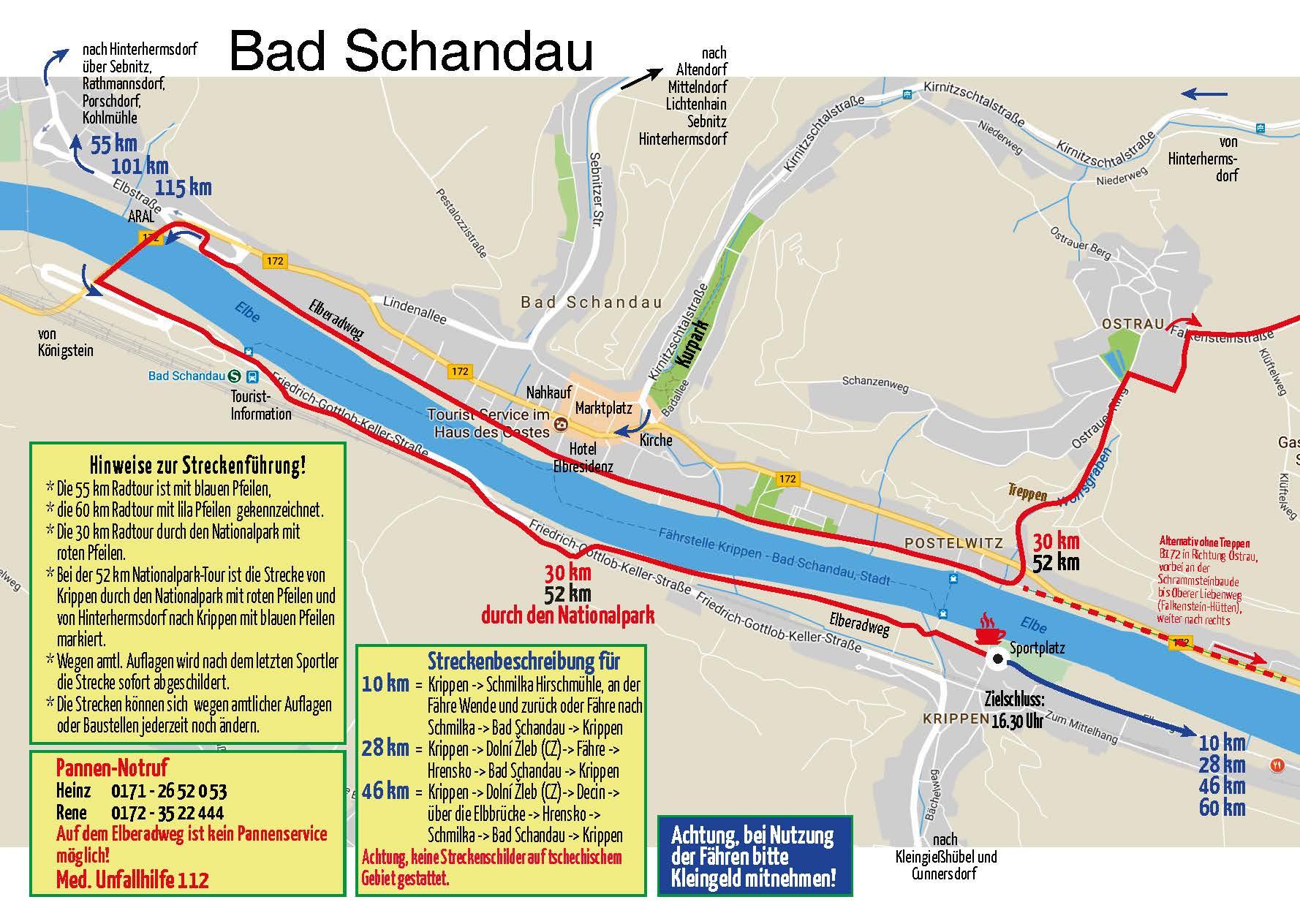 Streckenverläufe in Bad Schandau